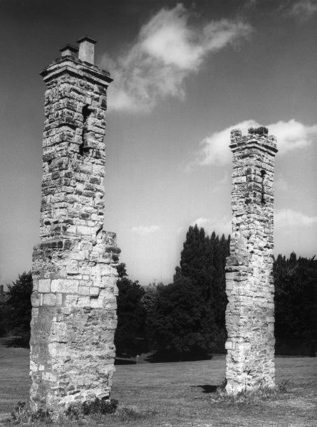 The old gateway pillars of Abington Park, Northampton, Northamptonshire, now a municipal open space. Date: 1960s