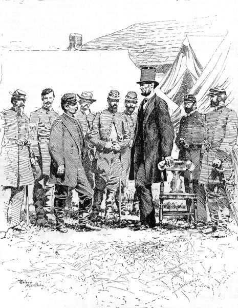 President Lincoln meets with General McClellan at Antietam. Lincoln's visit led to his order for the army to cross the Potomac and pursue Lee's troops south. Date: 3 October 1862