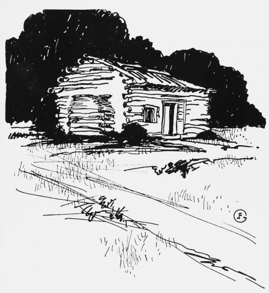 ABRAHAM LINCOLN Log cabin at La Rue (now Hardin) County, Kentucky, where he was born
