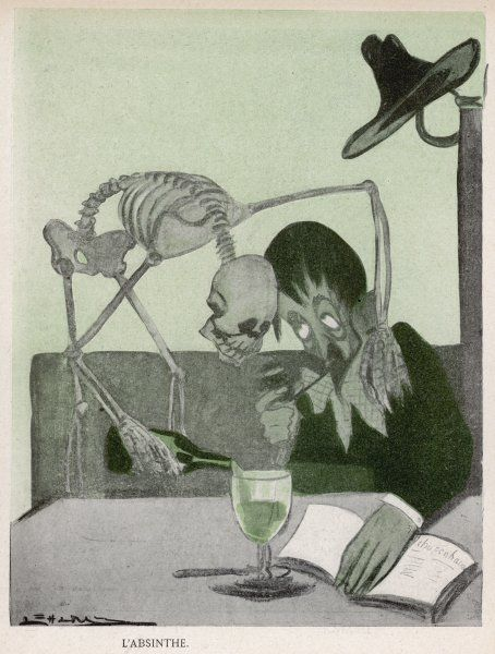 Allegory on the dangers of drinking Absinthe