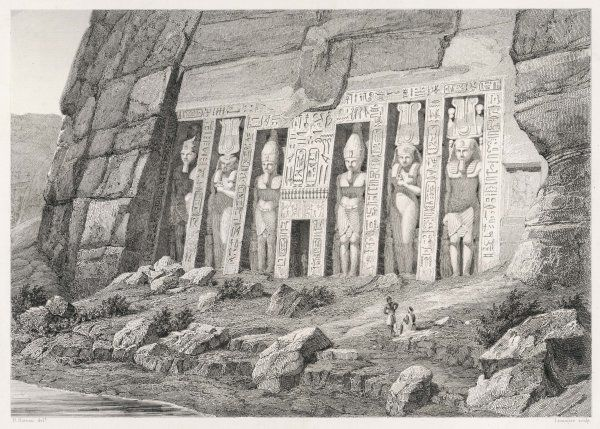 The colossal Speos of Athor, some 20 metres high, is depicted here pretty much as it was found by travellers in 1812