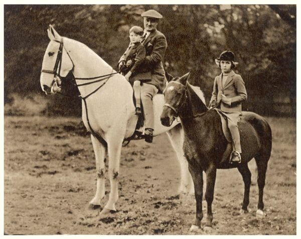 Brigadier-General Arthur Cecil Critchley (1890-1963), greyhound racing pioneer and aviation administrator, pictured here on horseback with his children Diane and Brian