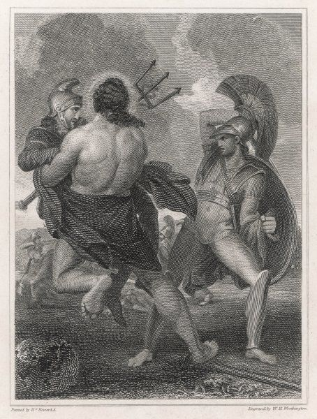 He overpowers Aeneas and is just about to dispatch him to the Underworld when Poseidon intervenes to protect the Trojan hero who will found the dynasty of Romulus & Remus