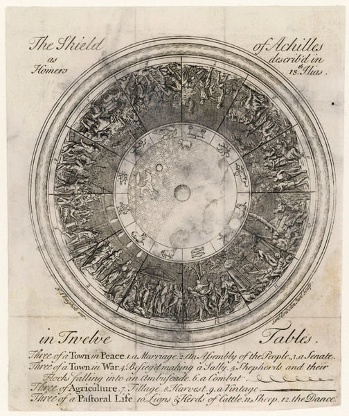 THE SHIELD OF ACHILLES in 12 Tables: 3 of a Town in Peace; 3 of a Town in War; 3 of Agriculture and 3 of Pastoral Life