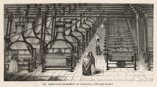 The interior of Ackroyd's loom-shed at Halifax, Yorkshire : for the production of worsted goods