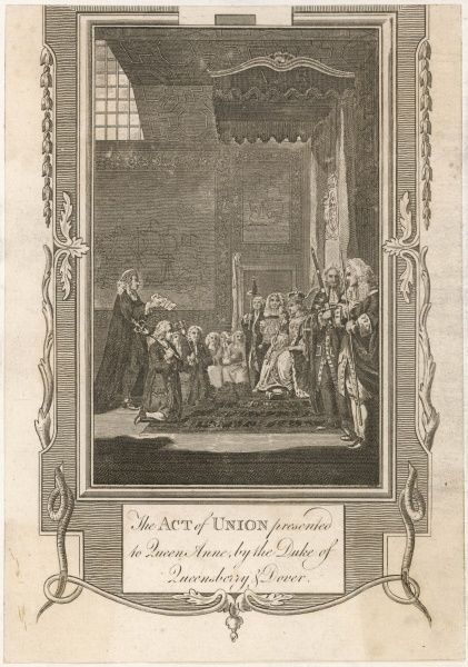 The Act of Union presented to Queen Anne, by the Duke of Queensbury and Dover