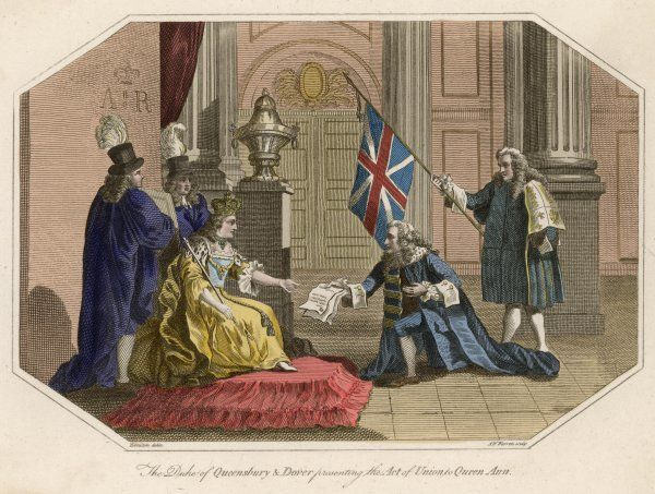The Duke of Queensbury and Dover presenting the Act of Union to Queen Anne