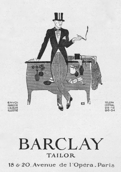 Advert for Barclay Tailor, 1925, Paris Date: 1925