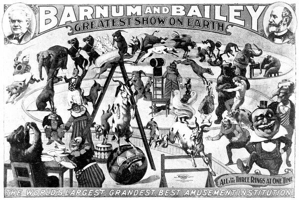 Poster advertising Barnum and Bailey's three ring circus, commonly known as 'The Greatest Show on Earth', 1897