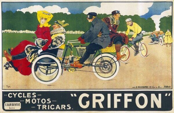 A poster advertising Griffon Cycles, Motos and Tricars
