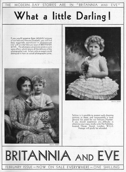 Advertisement for Britannia and Eve magazine in The Bystander (they were part of the same publishing group) tempting potential readers with the promise of 'delightful pictures of our beloved Princess Elizabeth&#39