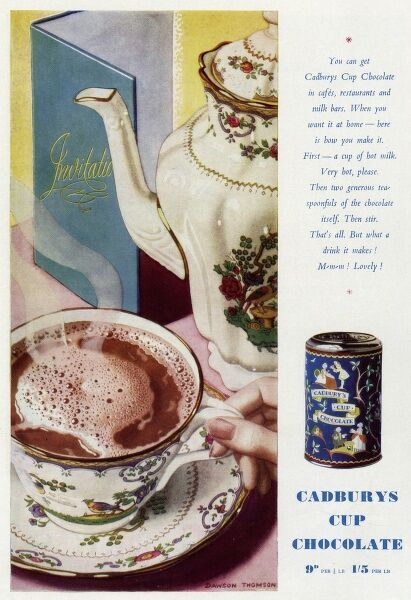 Advertisement for Cadbury's 'cup' chocolate in a porcelain cup and saucer. Date: 1939