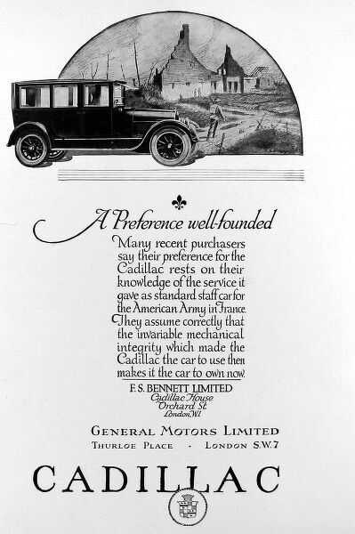Advertisment for Cadillac cars showing an illustration of the car with a war scene in background, a reference to the fact that Cadillac cars provided excellent service to the American Army in France during World War I