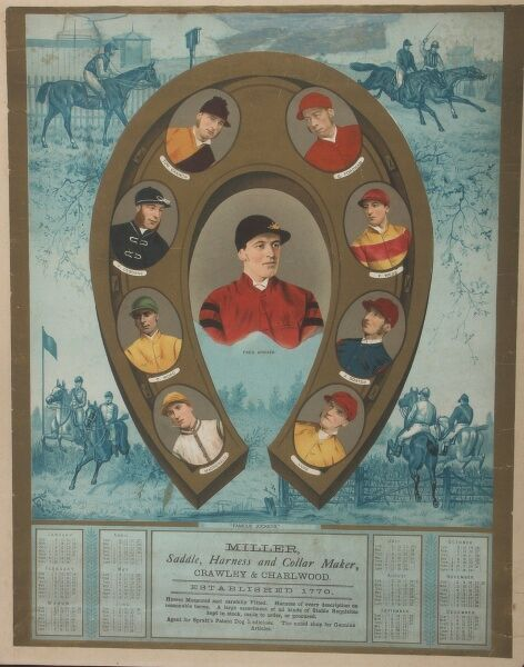 A design for an advertising calendar for Miller, manufacturers of equine tack manufacturers. The picture shows a horse shoe containing famous jockeys; Fred Archer, John Osborne, Fred Webb, J.Goater, Luke. C.Wood, Tom Cannon and G.Fordham