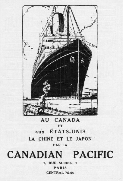 Advert for Canadian Pacific Lines, 1926, Paris Date: 1926