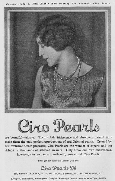 Advert for Ciro pearls, 1926 featuring Binnie Hale, London Date: 1926