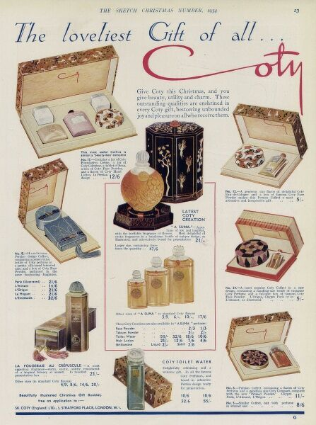A advertisement showing various gift sets from Coty