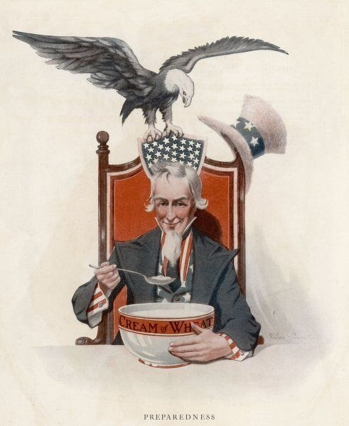 Uncle Sam enjoys his Cream of Wheat - even the American Eagle would like a taste