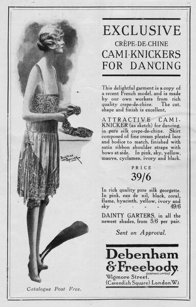 Advert for Debenham & Freebody Cami-knickers for dancing, 1926 Date: 1926