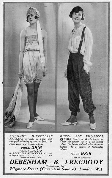 Advert for Debenham & Freebody knickers and pajama suit, 1927, London Date: 1927