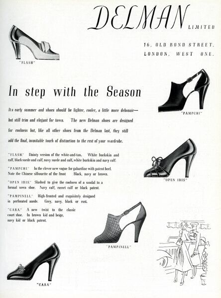 Advertisement for Delman shoes. In step with the season... A selection of high heeled summer shoes. Date: 1937