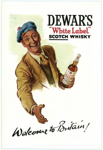 Advertisement for Dewar's White Label Scotch Whisky, showing a smiling Scotsman with a bottle in his hand, reaching out his other hand to say Welcome to Britain, at a time when many people were visiting London to see the Festival of Britain