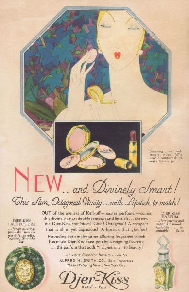 Advert for Djer-Kiss perfum and tioleteries, 1928, USA Date: 1928
