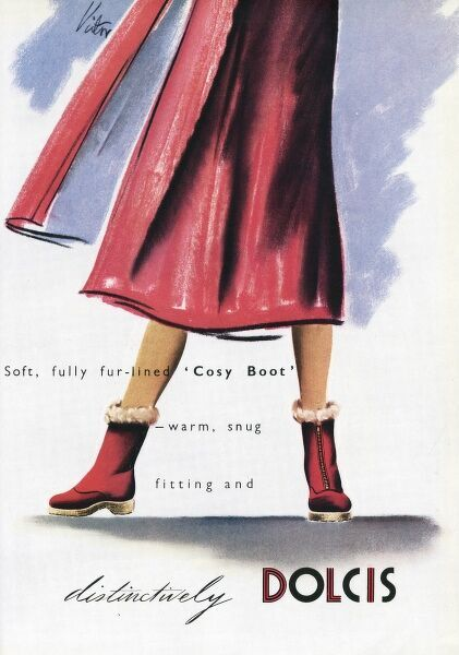 'Soft, fully fur-lined 'cosy boots' -warm, snug fitting and distinctively Dolcis'. Date: 1948