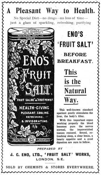 An advertisement for Eno's Fruit Salt, the health-giving aperient to be taken before breakfast. Date: 1913