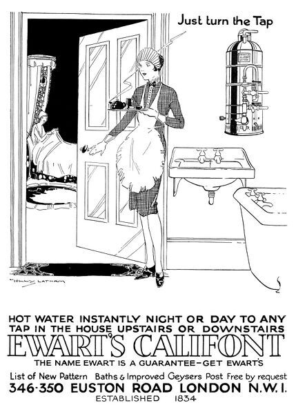 Advertisement for Ewart's baths and geysers, with a picture of a maid bringing a tray of morning tea to her mistress, who is still reclinging in bed, and clearly too busy to even switch on her bath
