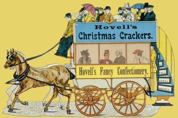 Hovell's Christmas Crackers (and their fancy confectionery) advertised on the side of a horse bus