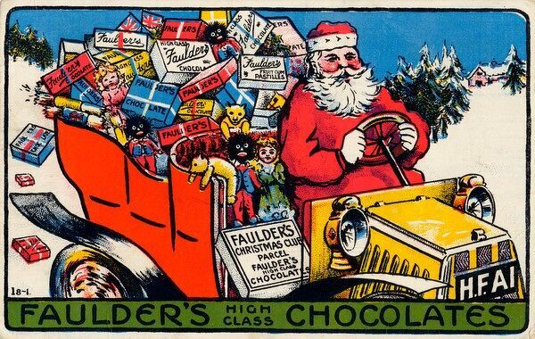 Father Christmas delivers a carload of Faulder's chocolates