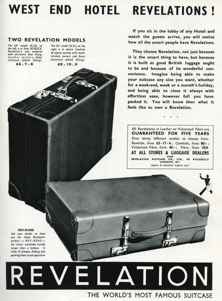 Advertisement for 'Revelation' leather suitcases with chromium-plated locks and fittings. Date: 1937