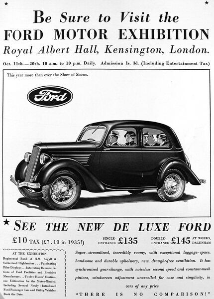 Advertisment for Ford Motor Exhibition at Royal Albert Hall where you can see the new deluxe ford