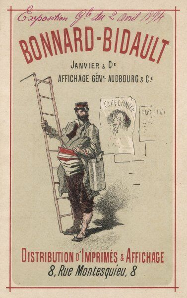 A French bill poster with his huge glue pot
