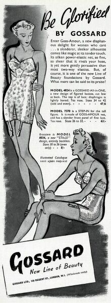 Gossard corset - a new diaphanous delight for the women who care... a slenderer, sleeker silhouette comes like magic atits tender tounch. Date: 1937