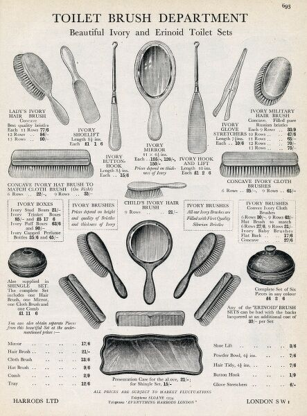 An advertisement for a range of hairbrushes in ivory and erinoid from Harrods toilet brush department