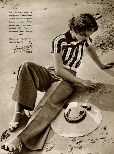 Advert for Harrods womens casual flannel trousers and a striped wool shirt for the beach. Date: 1937