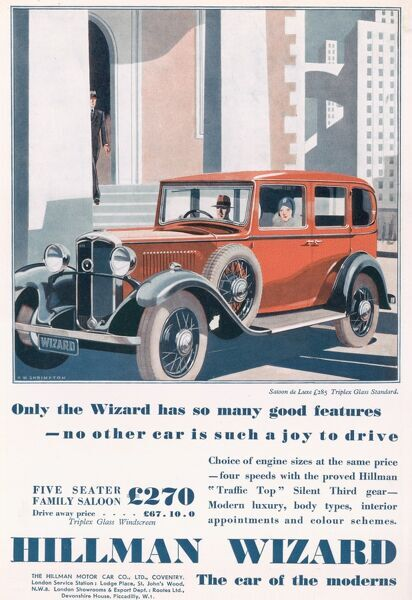 Illustration showing a Hillman Wizard car parked in a city