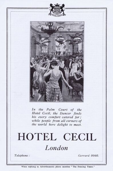 Advert for the Hotel Cecil, London showing dancing in the Palm Court 1926