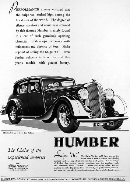 Advertisement for the Humber Snipe 80 car