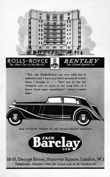 Advert for Jack Barclay & Rolls-Royce, 1930s Date: 1930s