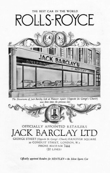 Advert for Jack Barclay & Rolls-Royce, 1935, London Date: 1935