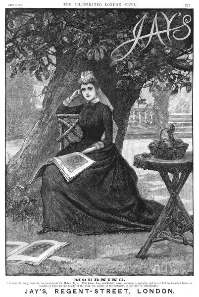 A pensive woman sits beneath a tree, modelling mourning attire from Jay's of London. Her work basket is perched on a rustic table, and illustrated magazines lie discarded at her feet. Date: 1888