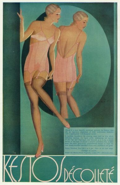 Advert for Kestos corsets, a backless foundation for evening wear. 1932