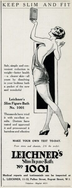 'Keep slim and fit'. Safe, simple and convenient reduction in weight - better health - a clearer skin - all yours bedtime bath a packet of new and wonderful Leichner's slim figure bath No.1001. Date: 1928