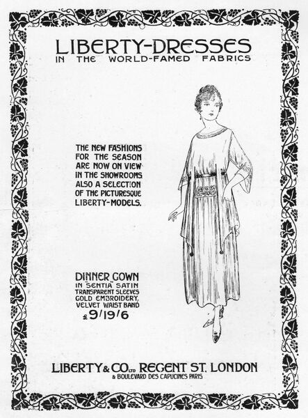 Advert for Liberty dresses, 1917, London Date: 1917