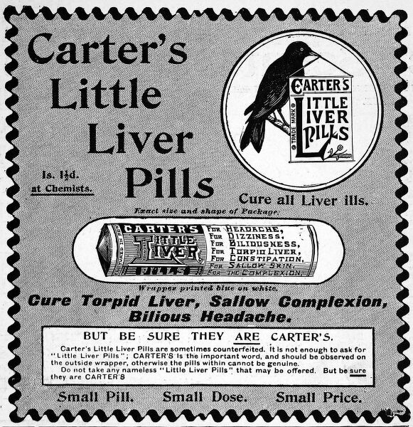 Carter's little liver pills, 'to cure all liver ills&#39