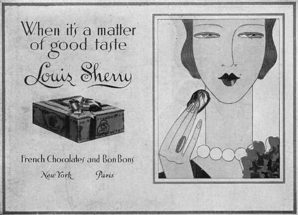Advert for Louis Sherry French chocolate and Bon Bons, 1928 Date: 1928