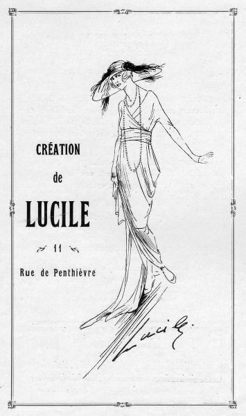 Advert for Lucile, 1919, Paris (one of the most famous of couturiers in Paris, London and New York) Date: 1919
